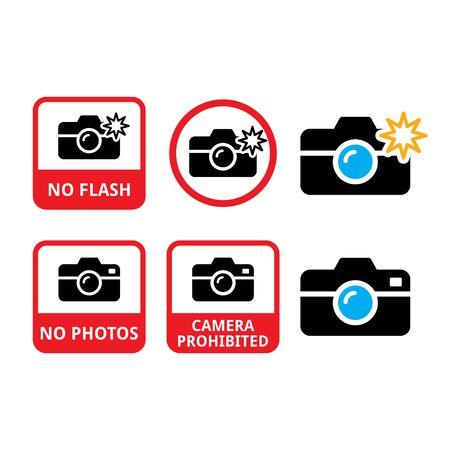 No photos, no cameras, no flash vector icons - do not taking photos warning sign