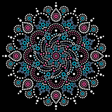 Aboriginal bohemian dot painting mandala vector pattern, Australian dot art ornament in white, pink and blue on black