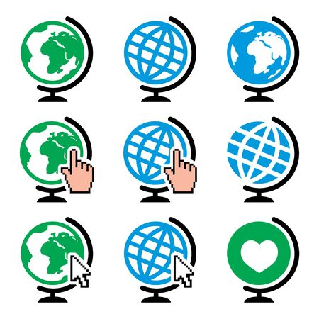 Globe earth vector icons with cursor hand and arrow - nature, environment concept