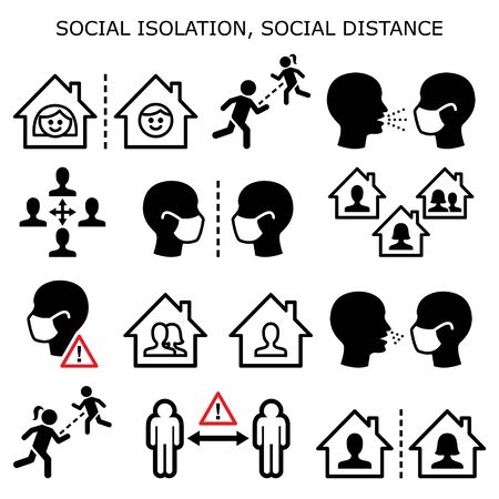 Social isolation, social distance, people on quarantine isolated at home during pandemic or epidemic vector icons set - flattering a curve concept