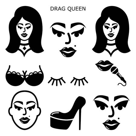 Drag queen vector icons set, drag show, drag performance, man dressed as sexy woman idea Illustration