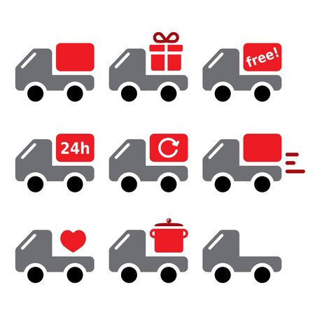 Delivery car, truck shipping goods, take away vector icons set