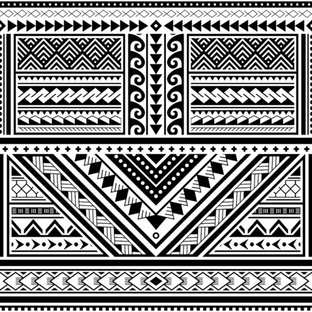 Polynesian tattoo seamless vector pattern, Hawaiian tribal design inspired by art traditional geometric art from islands on Pacific Ocean