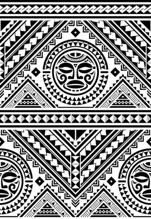 Polynesian seamless geometric vector pattern with Maori face mandala tattoo design, Hawaiian tribal background inspired by art traditional geometric art