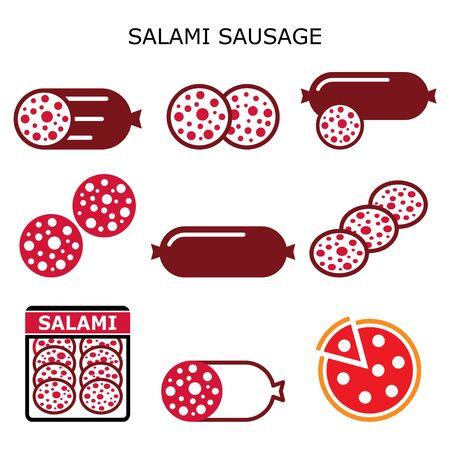 Salami sausage vector color icons set, salami meat slice, salami pizza - food design Ilustracja