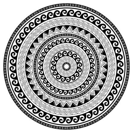 Tribal geometric mandala vector design, Polynesian Hawaiian tattoo style pattern with waves, triangles and abstract shapes