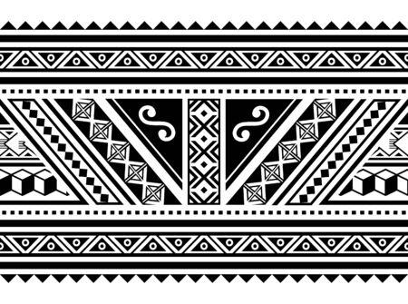 Polynesian geometric seamless vector long horizontal pattern, Hawaiian tribal design inspired by Maori tattoo art