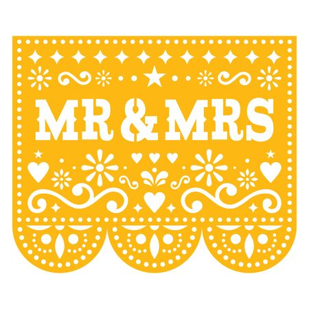 Mr and Mrs Papel Picado vector wedding greeting card design, Mexican paper cut out decoration with flowers Vettoriali