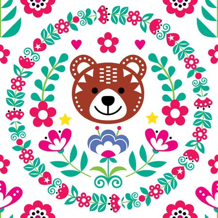 Scandinavian seamless vector folk art pattern with bear, flowers and wreath, Nordic floral textile design inspired by traditional embroidery from Sweden, Norway and Denmark