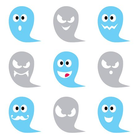 Halloween ghost vector icons set - cute scary, friendly, happy characters for celebrating Halloween
