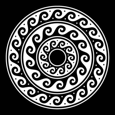 Greek vector mandala, Ancient round meander art in white on black background