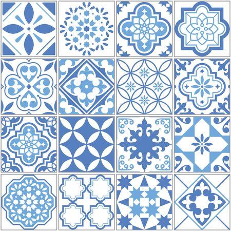 Modèle vectoriel continu de carreaux Azulejo portugais, mosaïque de carreaux anciens bleus de Lisbonne, design textile répétitif méditerranéen