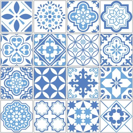 Portuguese Azulejo tile seamless vector pattern, Lisbon blue old tiles mosaic, Mediterranean repetitive textile design
