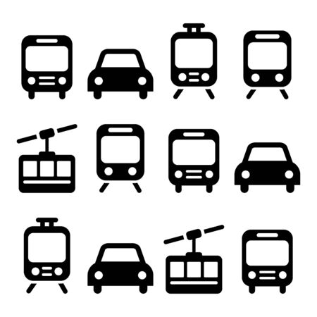 Transport, travel vector icon set isolated on white - car, bus, tram, train, gondola
