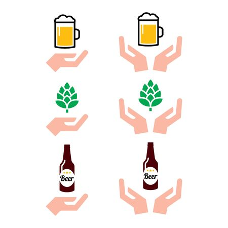 Love beer bottle and glass, hops with hands icons set - alcohol drink, craft beer design