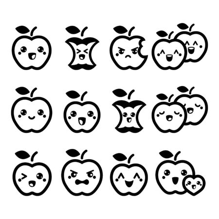 Cute Kawaii apple vector icon set - fruit, apples with faces design set