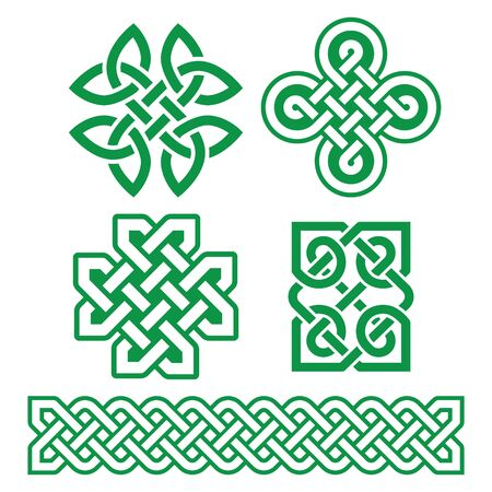 Celtic Irish patterns and braids - vector design set, traditonal Celtic knots and braids collection
