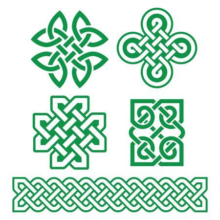 Keltische irische Muster und Zöpfe - Vektor-Design-Set, traditionelle keltische Knoten und Zöpfe-Kollektion