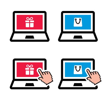 Shopping online, laptop with present and shopping bag color icon set