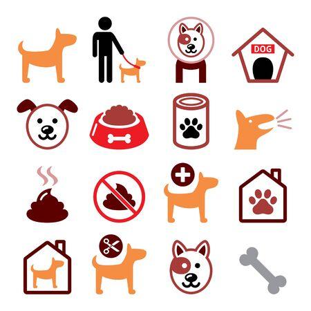 Dog, pet color icon set - vet, dog's food, dog hotel, animal design