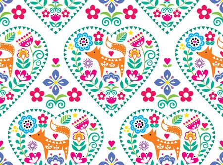 Scandinavian or Nordic heart folk art vector seamless pattern with flowers and fox, floral textile design inspired by traditional embroidery from Sweden, Norway and Denmark Vector Illustration