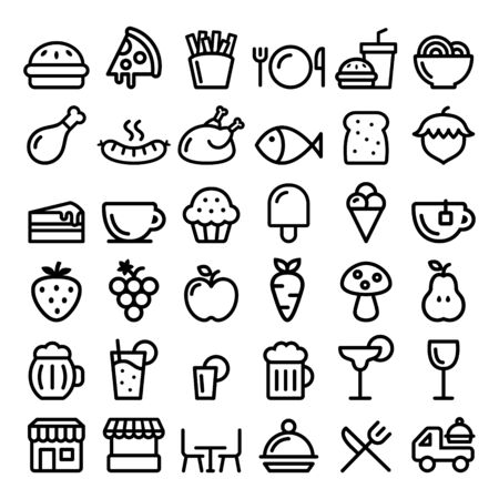 Food, cooking, pub, restaurant or cafe vector line icons - eating, drinking concept design