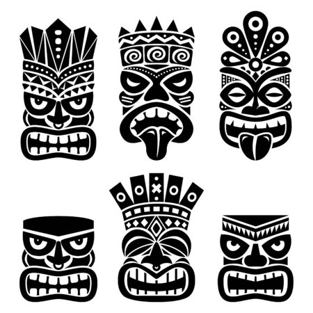 Hawaiian and Polynesia Tiki head totem vector design set- tribal folk art background