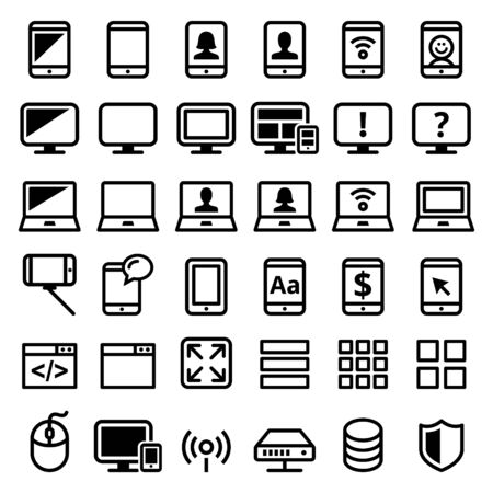 Computer, smartphone, laptop vector line icons set - modern technology, web icons set