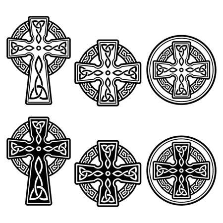 Celtic Irish cross vector design set - St Patrick's Day celebration in Ireland
