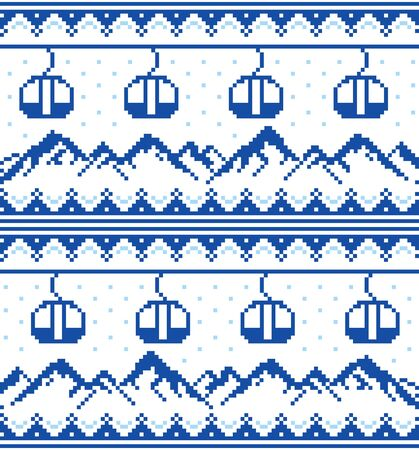 Mountains and gondolas ski, snowboard, hiking and climbing vector seamless pattern -  Fair Isle style traditional knitwear