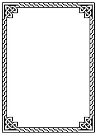 Irish Celtic vector ractangle frame design - traditional greeting card and invititon pattern Vektorové ilustrace