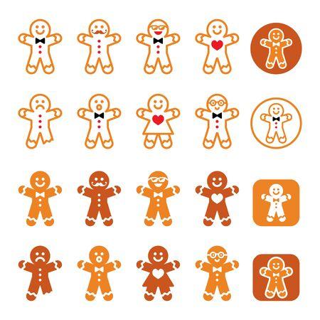 Gingerbread man Christmas icons set - Xmas baking, funny character