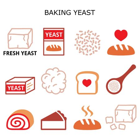 Baking yeast vector color icons set - baking bread and cakes idea, yeast dough, beer and wine production