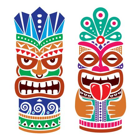 Tiki pole totem vector color design - traditional statue decor set from Polynesia and Hawaii, tribal folk art background 向量圖像