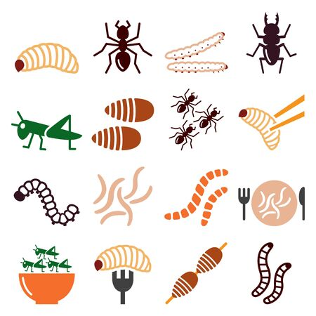 Edible worms and insects vector icons set - alternative source on protein in food