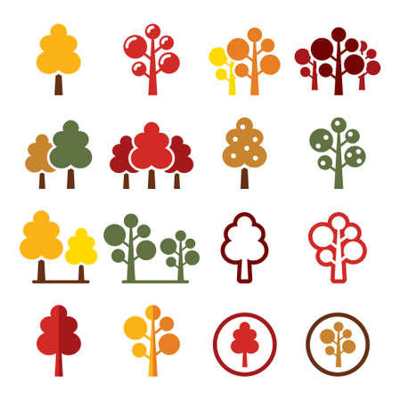 Autumn trees, forest, park vector icons set - nature design collection in yellow, orange, brown and red