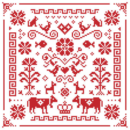 Retro Austrian and German cross-stitch vector floral pattern, symmetric emrboidery tile design with birds, dogs, cows, hearts and flowers