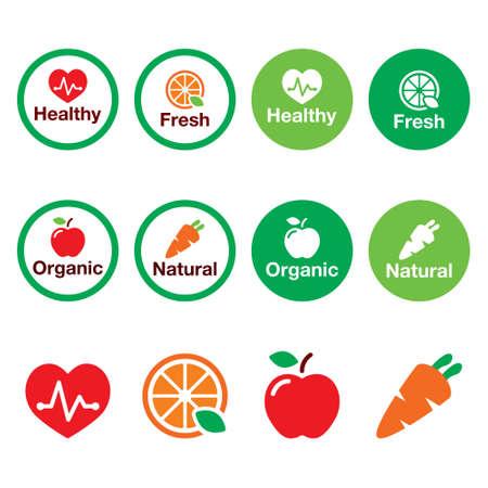 Organic food, heatlhy eating fresh and natural products vector icons set Illusztráció