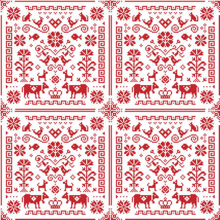 Retro Austrian and German cross-stitch vector seamless floral pattern, symmetric emrboidery tile design with birds, dogs, cows, hearts and flowers  イラスト・ベクター素材