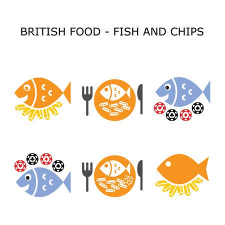 Fish and chips vector color icon set - British traditional food design