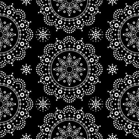 Aboriginal dot painting mandala seamless vector pattern, white bohemian Mandala vector dot art on black background, retro folk design inspired by traditional art from Australia 일러스트