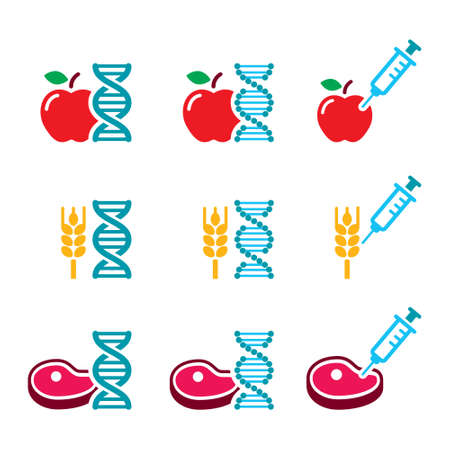 Food DNA, genetically modified food GMO vector color icon set