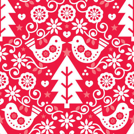 Christmas Scandinavian seamless vector pattern with birds and flowers in white on red, folk art Nordic fabric, textile design