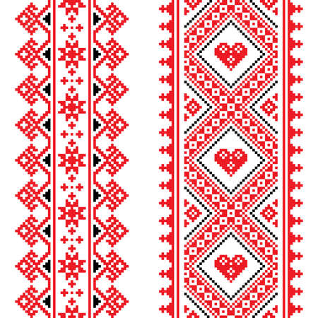 Traditional Ukrainian and Belarusian folk art vector pattern - vertical seamless cross-stitch design in red and black