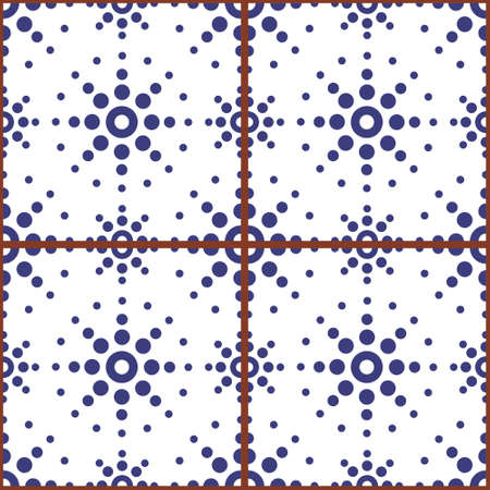 Moroccan geometric seamless vector tile pattern with dot art, navy blue repetitive design