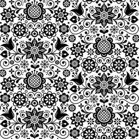 Floral seamless folk art vector pattern, Scandinavian black and white repetitive design, Nordic ornament with birds, hearts and flowers