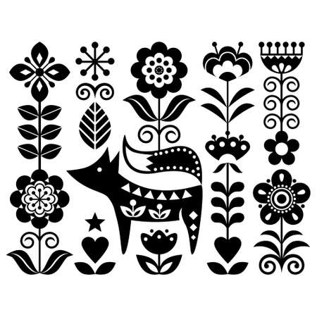 Scandinavian cute monochrome folk art vector design with flowers and fox, floral pattern perfect for greeting card or invitation inspired by traditional embroidery from Sweden, Norway and Denmark