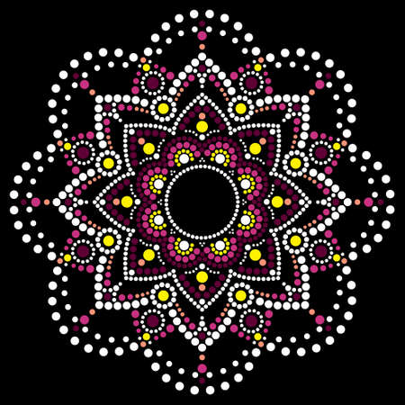 Dot art vector ethnic mandala, traditional Aboriginal dot painting design, indigenous decoration from Australia in pink and white