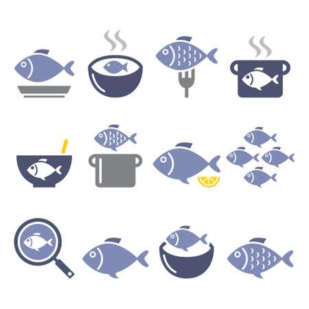 Fish meals icons - soup, chowder, goulash, fried fish color design set