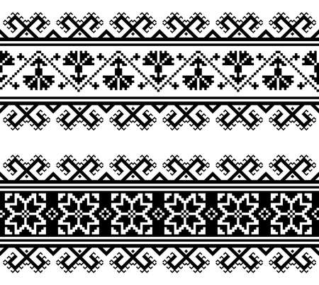 Ukrainian or Belarusian traditional seamless folk embroidery pattern wtich flowers and geometric shapes
